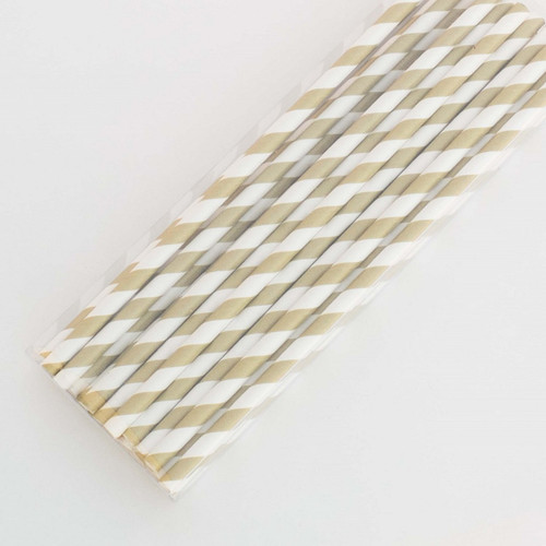 Gold Pretty Paper Straws - Pack of 200
