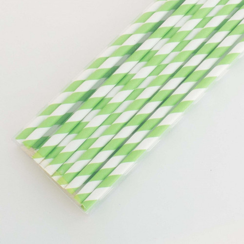 Green Pretty Paper Straws - Pack of 200