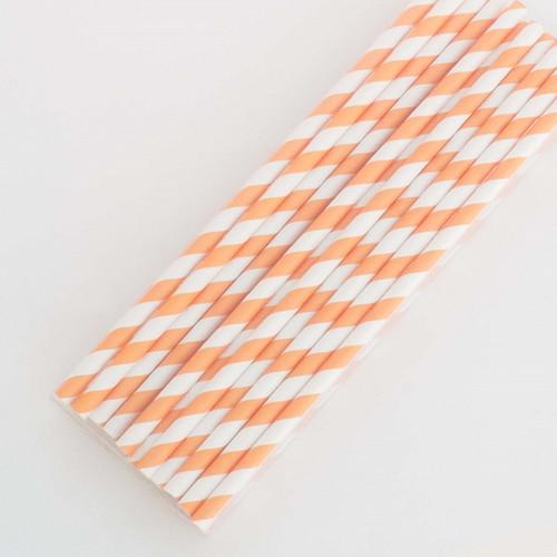 Orange Pretty Paper Straws - Pack of 200