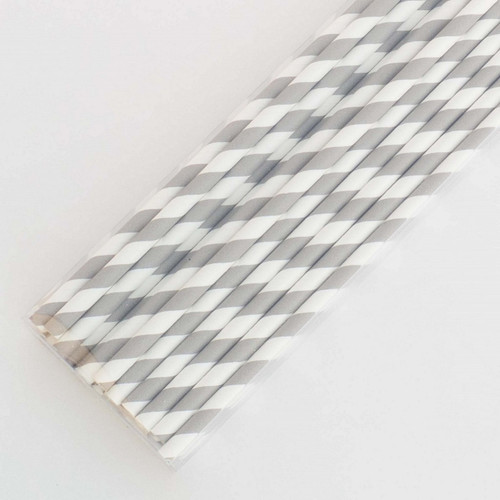 Silver Pretty Paper Straws - Pack of 200