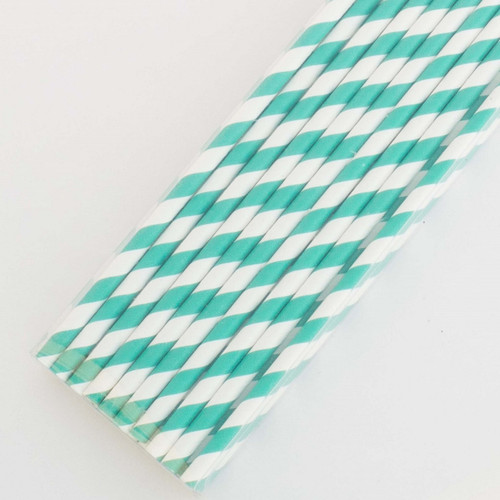 Turquoise Pretty Paper Straws - Pack of 200