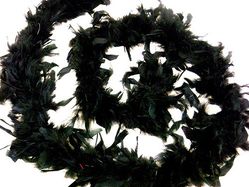 """4.5"""" Wide 72"""" (6 Feet) Long Black Chandelle Feather Boas - Pack of 10"""