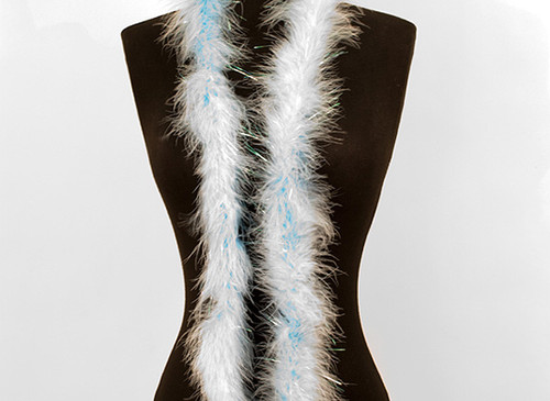 "1.5"" Wide 72"" (6 Feet) Long Light Blue Marabou Feather Boas - Pack of 10"