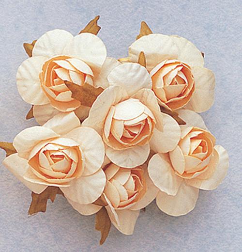 """1.25"""" Cream Big Rose Paper Craft Flowers - Pack of 72"""