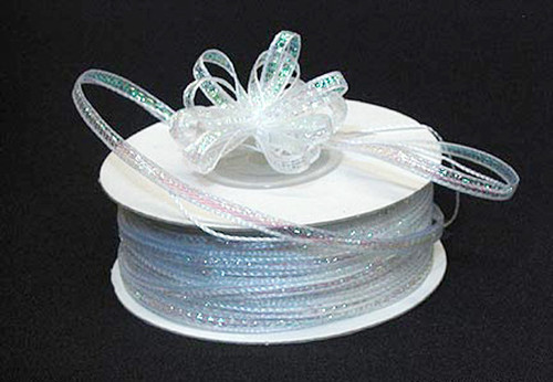 "1/4""x50 yards White Organza Pull Bows Ribbon with Iridescent Edge - Pack of 6 Rolls"