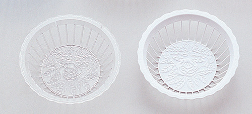 "9"" Diameter Plastic Serving Baskets with Flower Design - Pack of 48 Baskets"