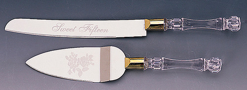 "Quinceanera Cake Knife and Server Sets with ""Sweet Fifteen"" Engraving"