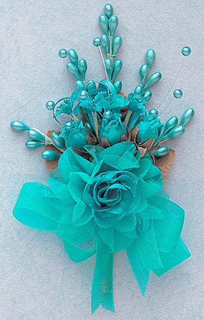 "7"" Aqua Blue Bridal Corsage Silk Spray Flowers - Pack of 12"