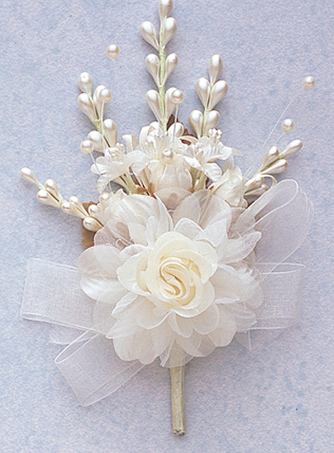 """7"""" Ivory Bridal Corsage Silk Spray Flowers - Pack of 12"""