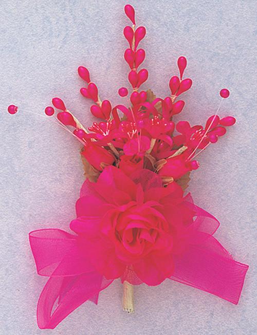"7"" Fuchsia Bridal Corsage Silk Spray Flowers - Pack of 12"