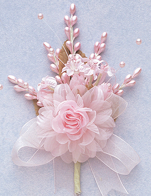 """7"""" Pink Bridal Corsage Silk Spray Flowers - Pack of 12"""