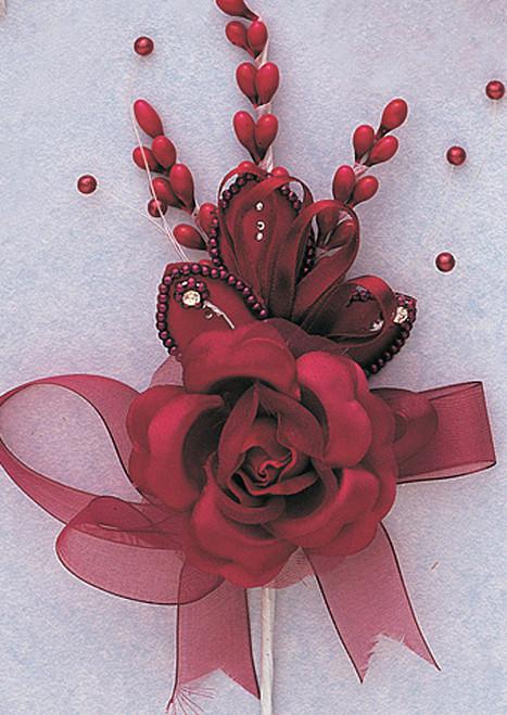 "7"" Burgundy Rose Corsage Silk Spray Flowers - Pack of 12"