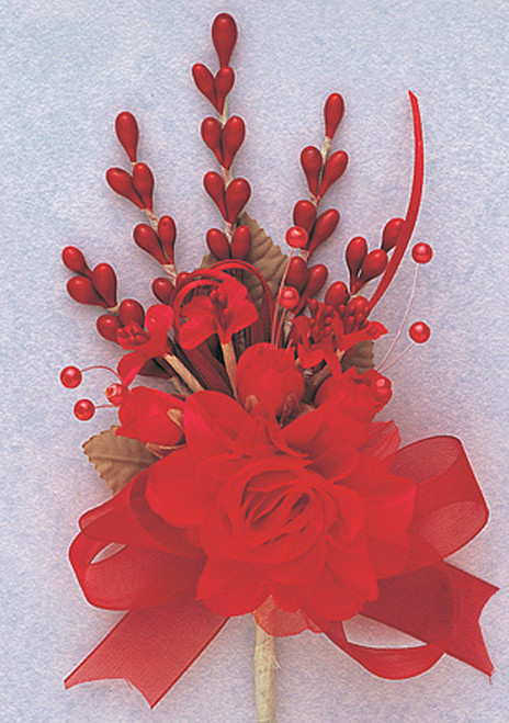 """7"""" Red Bridal Corsage Silk Spray Flowers - Pack of 12"""