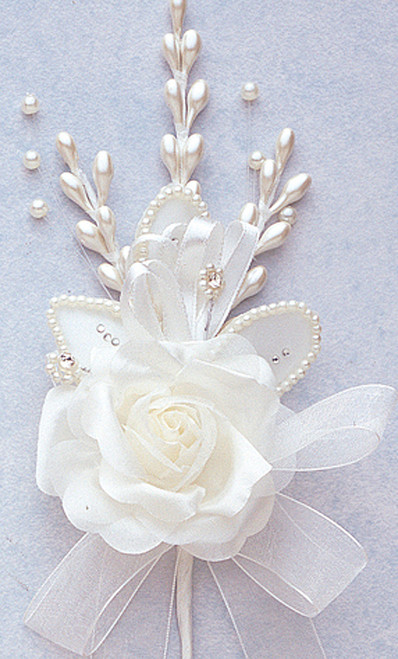 "7"" Ivory Rose Corsage Silk Spray Flowers - Pack of 12"