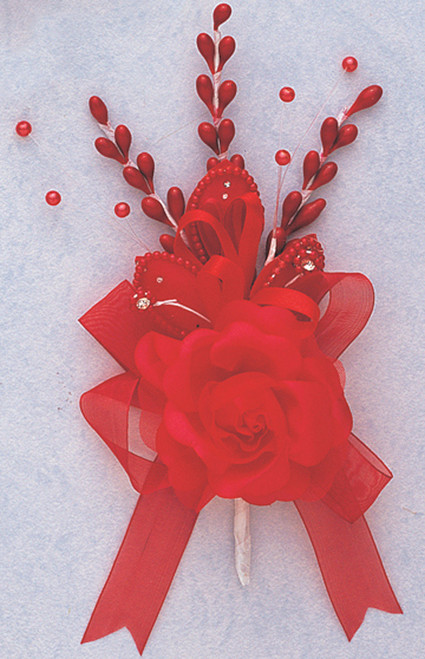 "7"" Red Rose Corsage Silk Spray Flowers - Pack of 12"