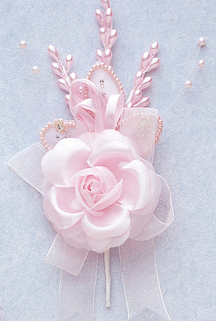 "7"" Pink Rose Corsage Silk Spray Flowers - Pack of 12"