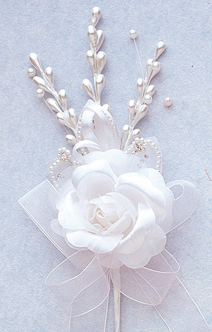 "7"" White Rose Corsage Silk Spray Flowers - Pack of 12"