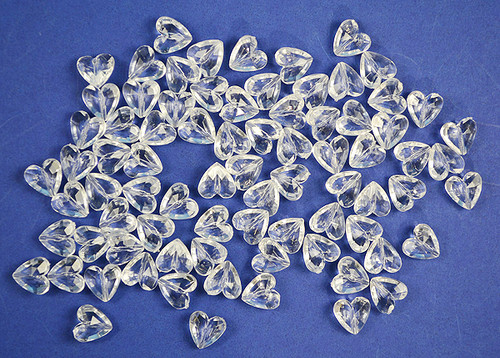 Clear Transparent Acrylic Heart Beads - Bag of 0.55 Pound