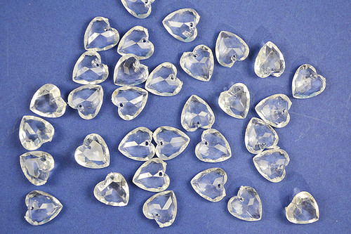 17mm Clear Transparent Acrylic Heart Beads - Bag of 0.55 Pound