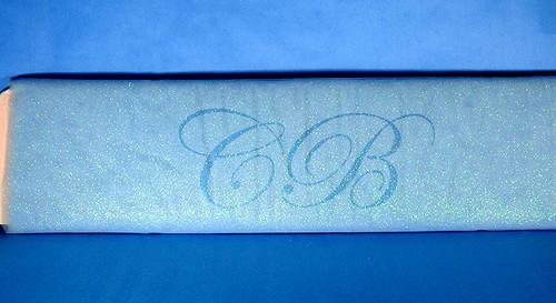 """54""""x15 yards (45FT) Light Blue Glitter Tulle Bolt"""