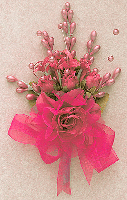 """7"""" Coral Bridal Corsage Silk Spray Flowers - Pack of 12"""