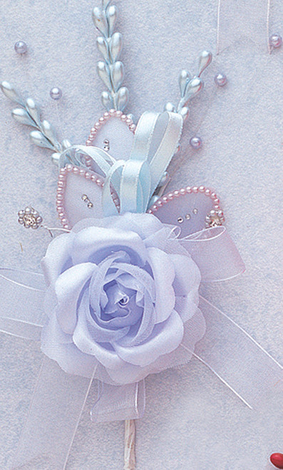"7"" Light Blue Rose Corsage Silk Spray Flowers - Pack of 12"