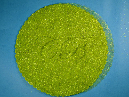 "9"" Diameter Apple Green Fabric Wedding Glitter Tulle Circles - Pack of 240"