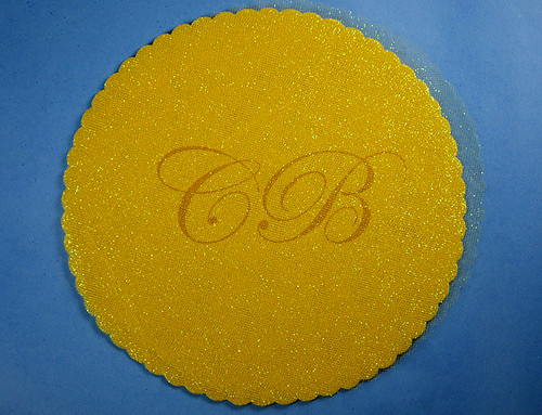 "9"" Diameter Dark Yellow Fabric Wedding Glitter Tulle Circles - Pack of 240"