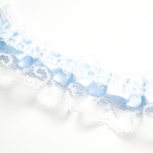"1"" x 50 Yards Blue Ruffled Lace Trim"