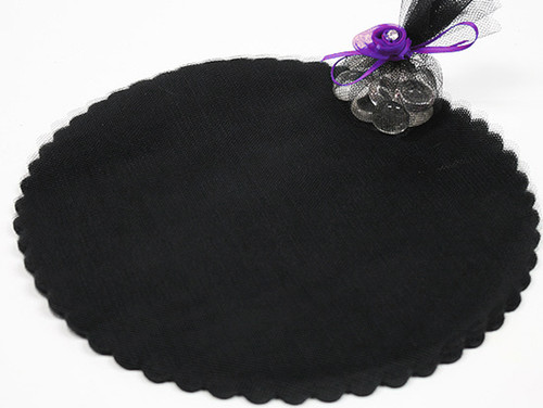 "9"" Diameter Black Wedding Tulle Circle - Pack of 600"