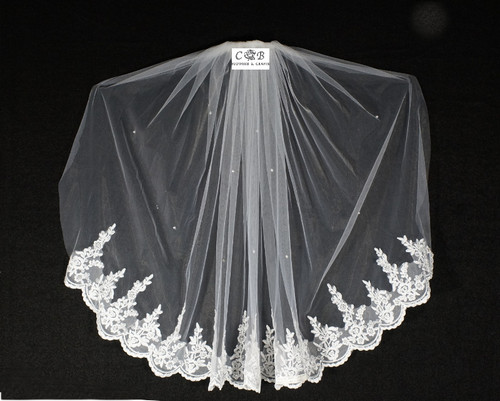 "32"" Long White One-Tier Bridal Wedding Embroidered Veils"