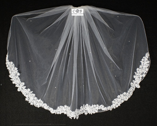"32"" Long White One-Tier Bridal Wedding Embroidered Veils 1"