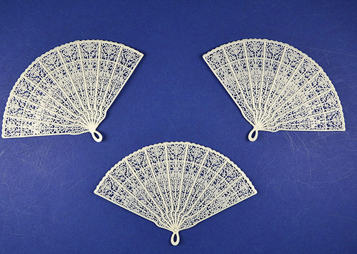"5"" Wide 3 1/4"" Tall White Plastic Wedding Fans  - Pack of 864 Count"