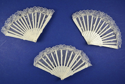 "5.5"" Wide 3.5"" Tall White Lace Wedding Fans - Pack of 288 Count"