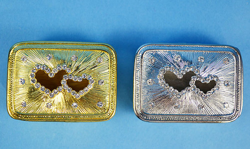 "2 1/4"" Double Heart Rectangle Arras Box and Coin Set"
