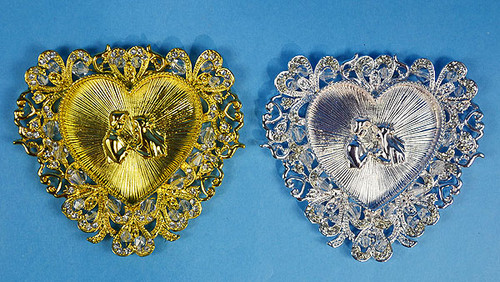 "3.5"" Heart Wedding Arras Tray with Wedding Couple"