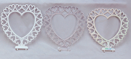 "6 1/4"" Tall Heart Shaped Plastic Backdrop with Heart Design - Pack of 72 Backdrops"