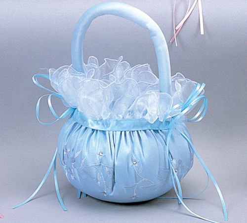 Light Blue Wedding Satin Flower Girl Basket 1
