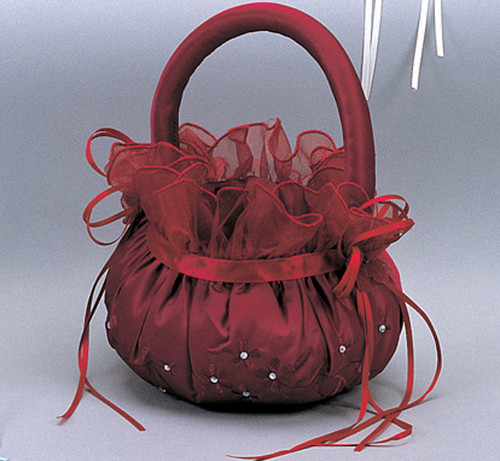 Burgundy Wedding Satin Flower Girl Basket 1