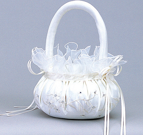 Ivory Wedding Satin Flower Girl Basket 1