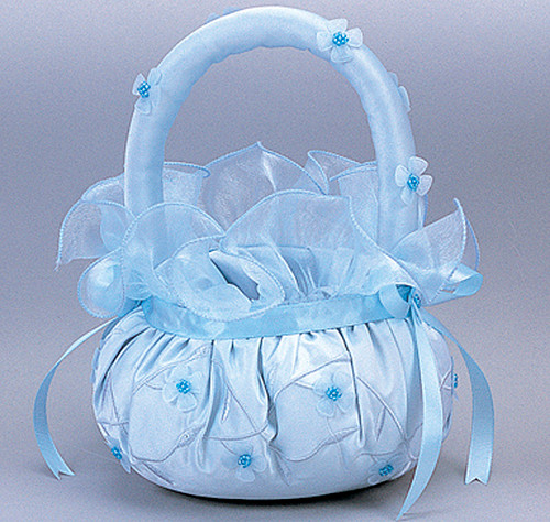 Light Blue Wedding Satin Flower Girl Basket 2