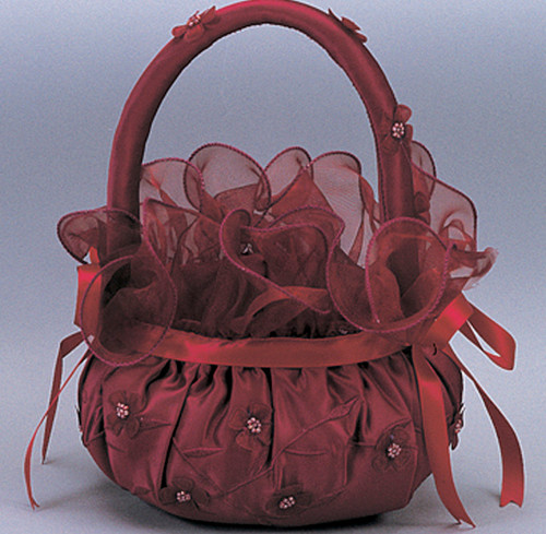 Burgundy Wedding Satin Flower Girl Basket 2