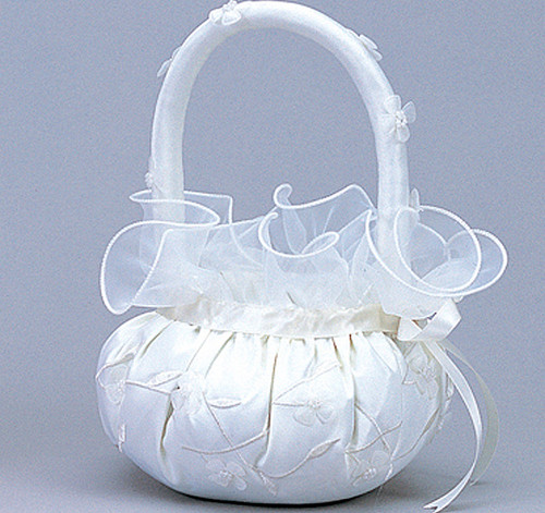 Ivory Wedding Satin Flower Girl Basket 2