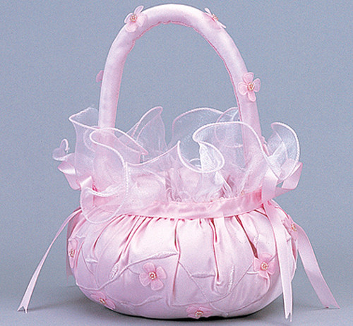 Pink Wedding Satin Flower Girl Basket 2