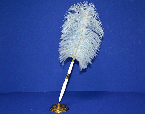 Light Blue Wedding Reception Pen Set Ostrich Feather Pen Set