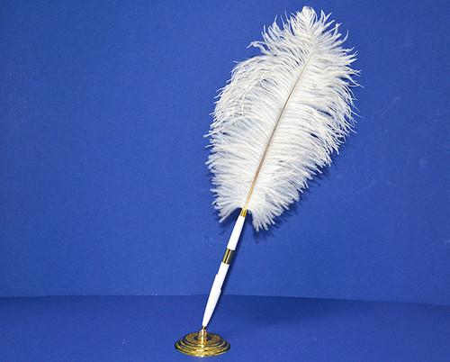 White Wedding Reception Pen Set Ostrich Feather Pen Set