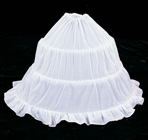 "53"" Diameter 16"" Long White Cotton Wedding Bridal Petticoat - 3 Bone Hoop Slip Skirt"