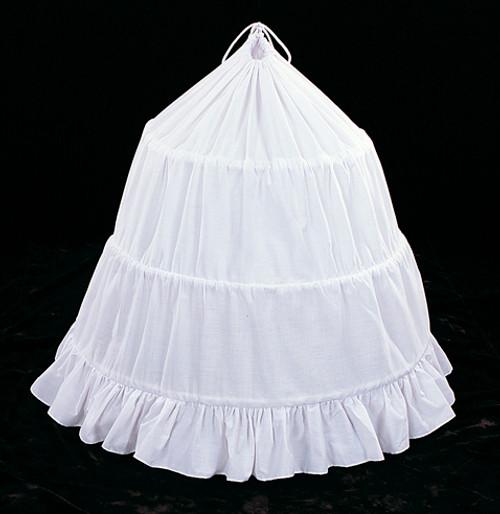 """87"""" Diameter 30"""" Long White Cotton Wedding Bridal Petticoat - 3 Bone Hoop Slip Skirt"""