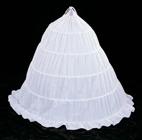 """145"""" Diameter 43"""" Long White Cotton Wedding Bridal Petticoat - 5 Bone Hoop Slip Skirt"""