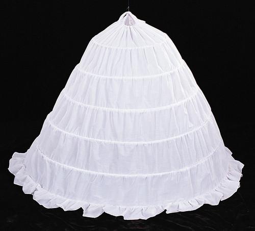 """155"""" Diameter 45"""" Long White Cotton Wedding Bridal Petticoat - 6 Bone Hoop Slip Skirt"""